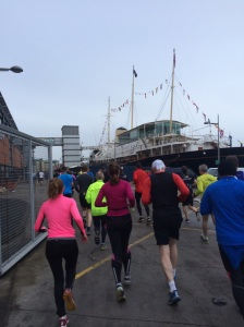 Passing the royal Yacht Britannia in the first kilometre of the race.