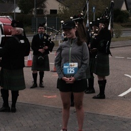 Me with the pipe and drum corps before they marched us to the start line
