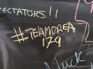 Tagging the message board at the expo to make sure everyone knew TeamDrea was in attendance