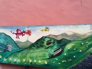 Mural in Llanberis town centre.